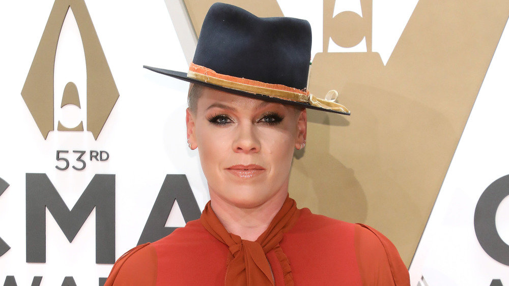 Pink wearing a hat
