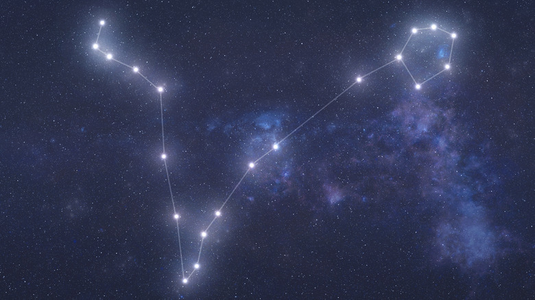 The Pisces constellation in the night sky