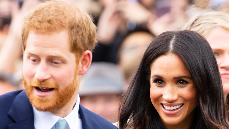Meghan and Harry look shocked