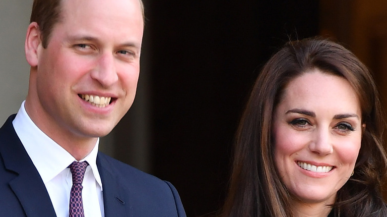 Prince William and wife Kate Middleton smile