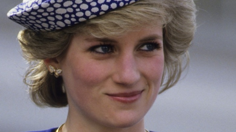 Iconic Princess Diana smiling on a visit