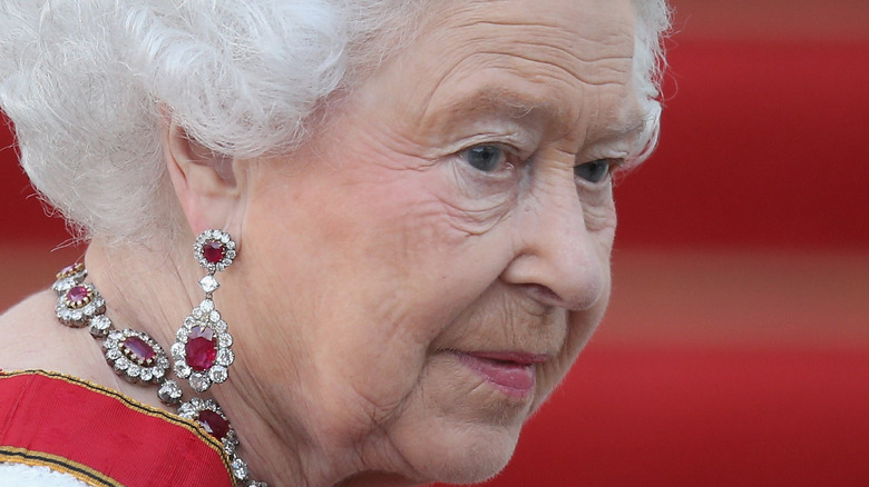 Queen Elizabeth  in diamond and ruby jewels