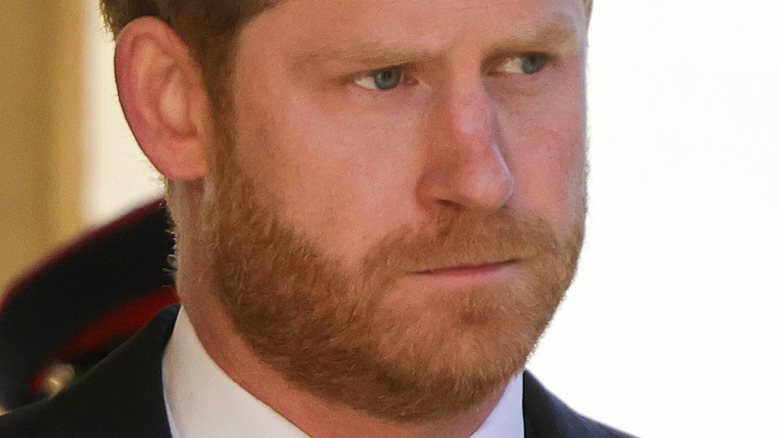 Prince Harry at grandfather's funeral