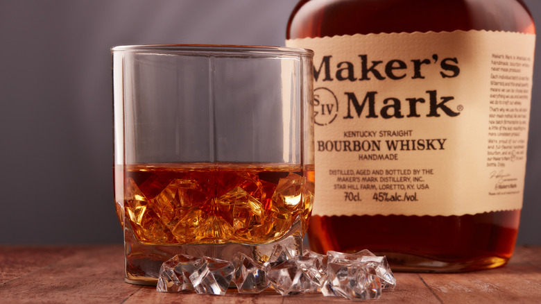 Maker's Mark bourbon and glass