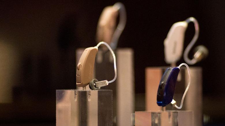 Hearing aids on display