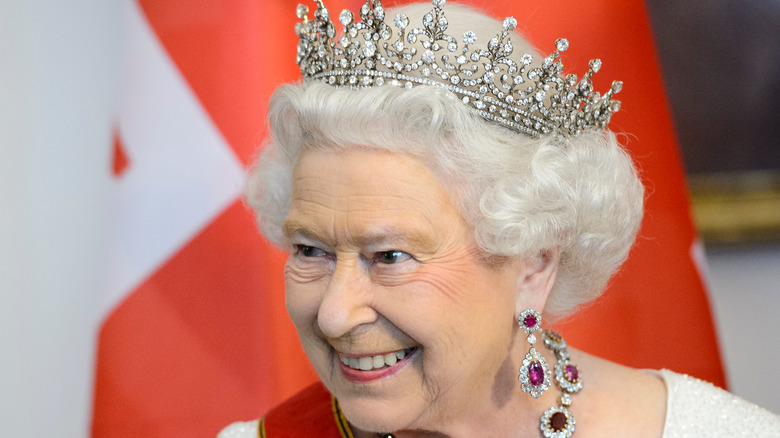 Queen Elizabeth smiling with crown