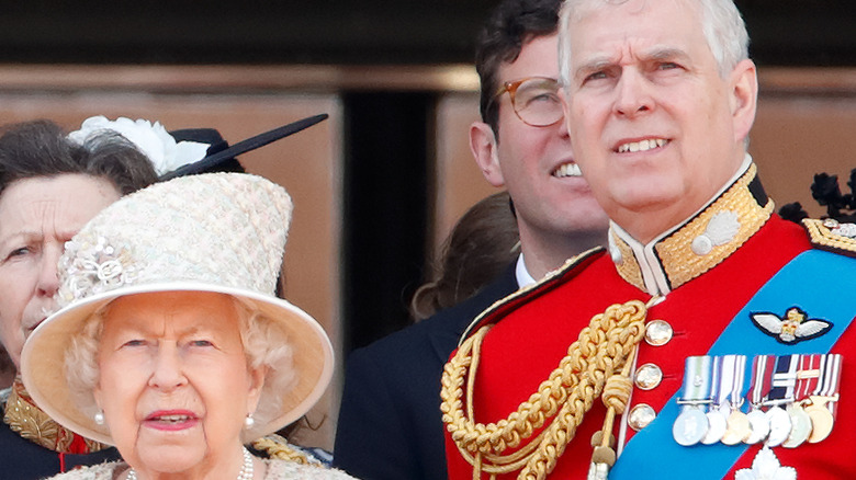 Queen Elizabeth and Prince Andrew smiling