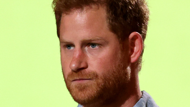 Prince Harry staring sternly