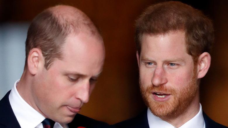 Prince Harry looks sideways at Prince William