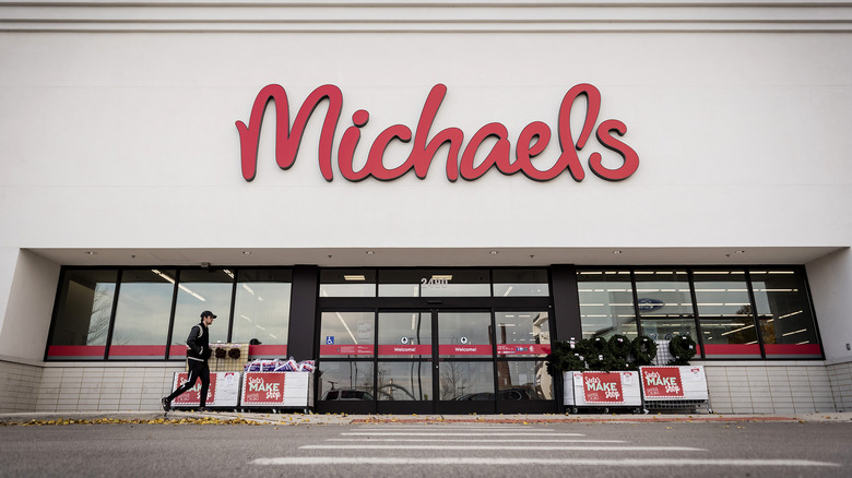 Michaels storefront on cloudy day