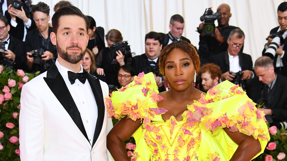 Serena Williams and Alexis Ohanian in tux and gown