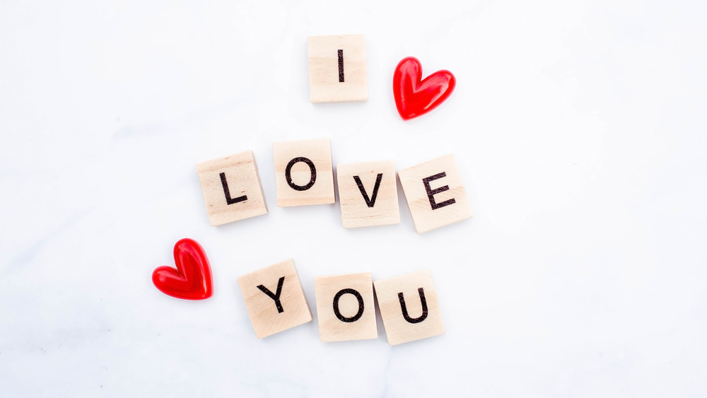 Beads spelling out I love you