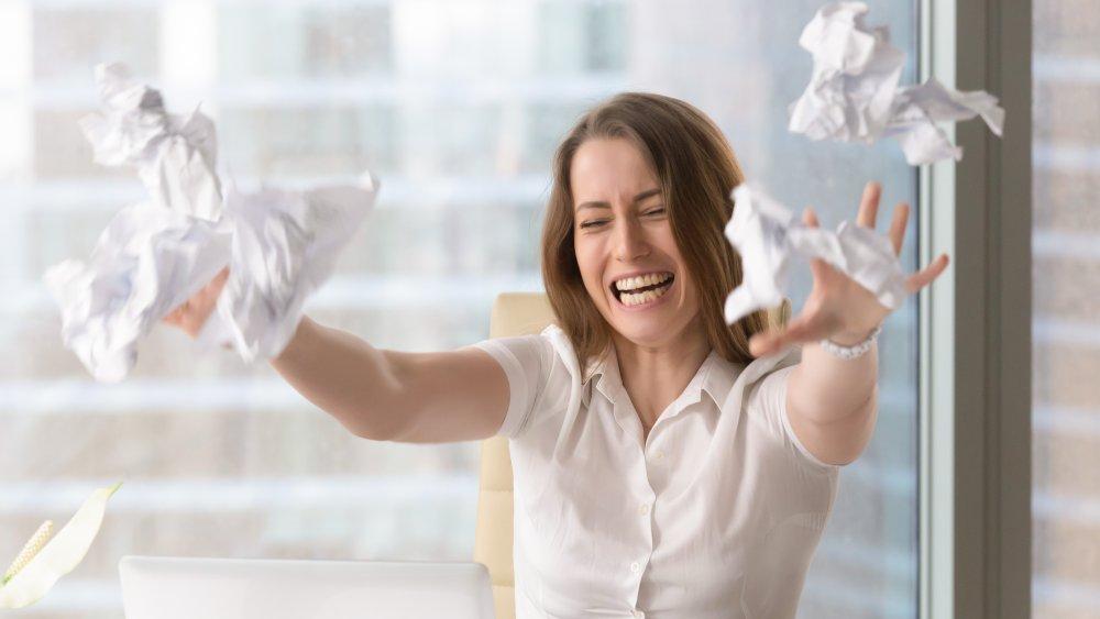 Woman having breakdown