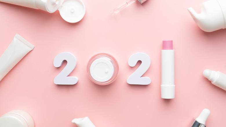 2021 spelled out in skincare products