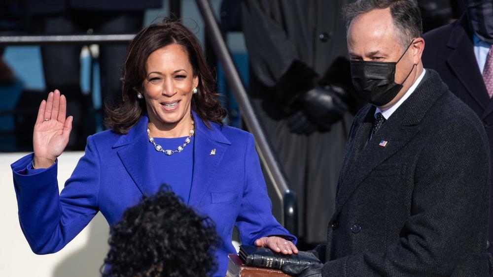 Kamala Harris smiles as she's sworn in as Vice President