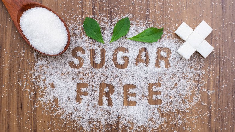 White granules spelling out 'sugar free'