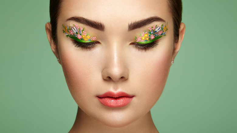 woman with graphic eye makeup