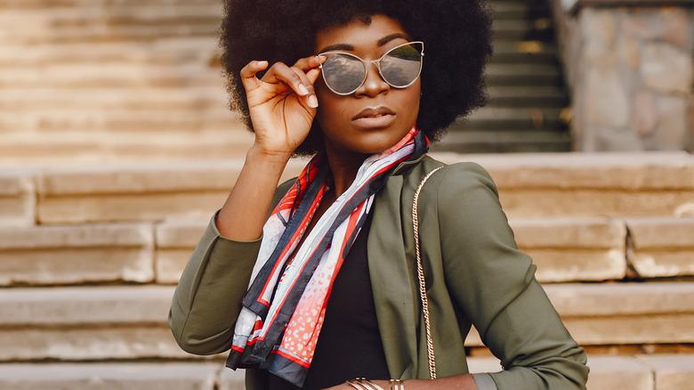 Stylish woman earing summer scarf