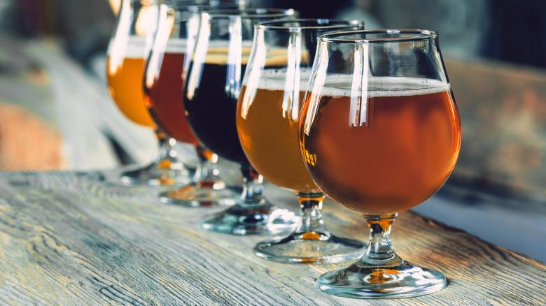 Glasses of dark and light beer