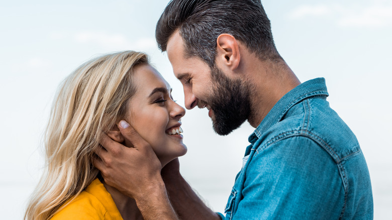 Couple showing attraction