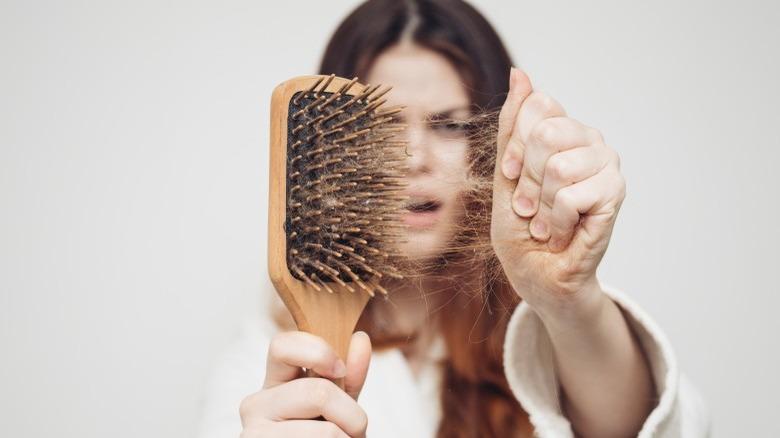 losing hair in brush