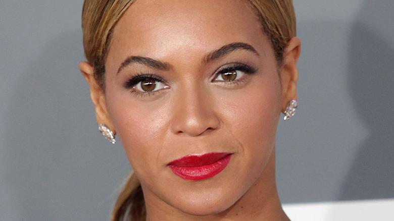 Beyoncé in a chic black and white dress