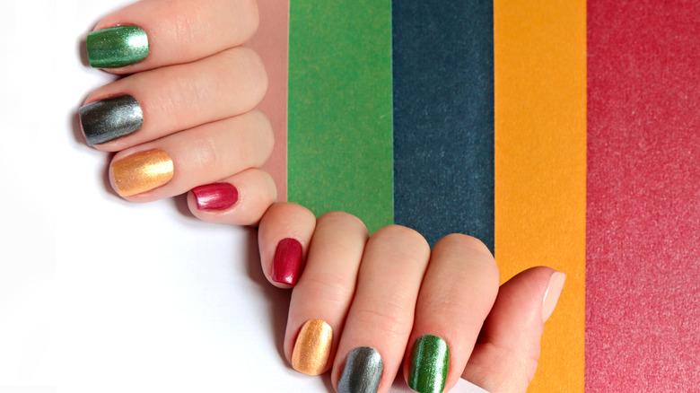 A colorful manicure