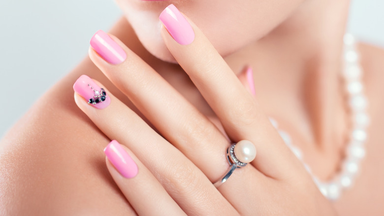 Pink manicure with accent nail