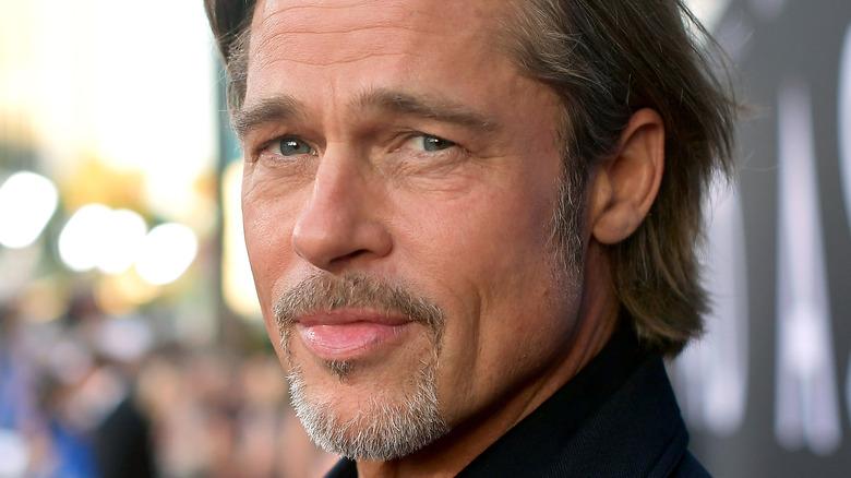 Brad Pitt poses on the red carpet