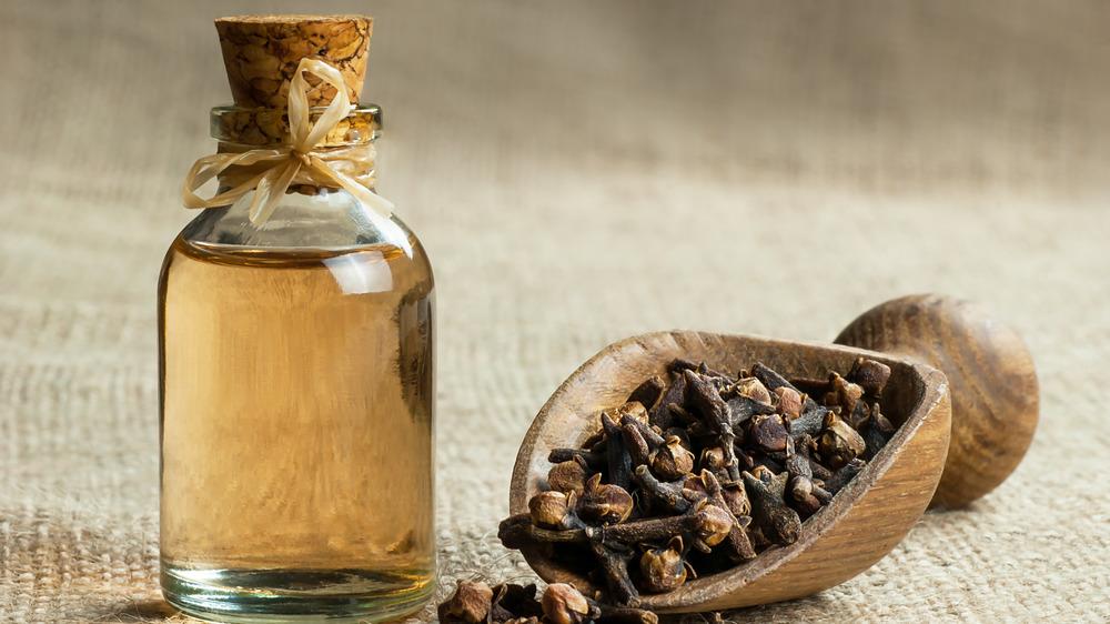 Bottled clove oil with cloves