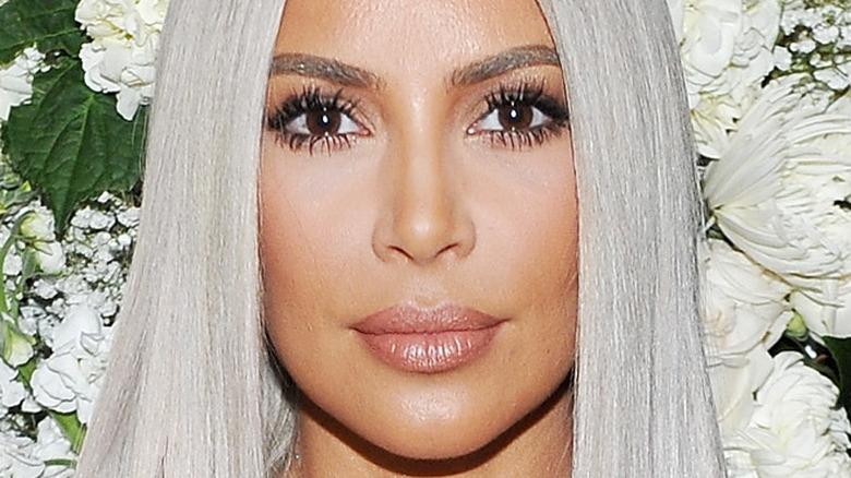 Kim Kardashian poses with silver hair