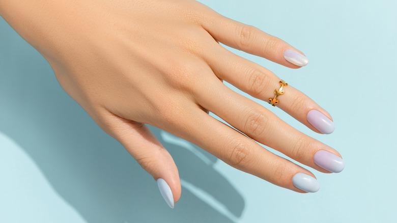 Blue iridescent manicure