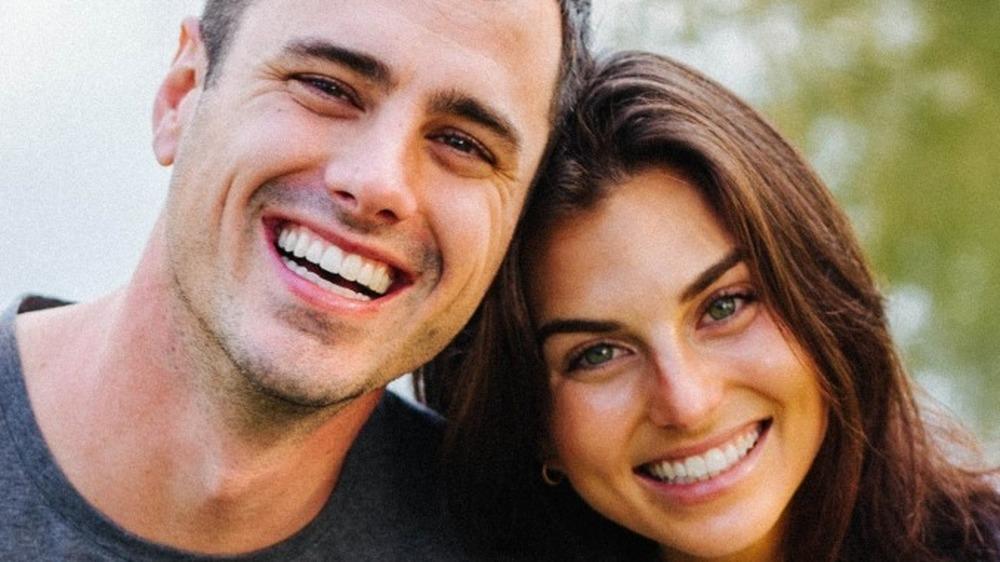 Ben Higgins and his fiancée smiling