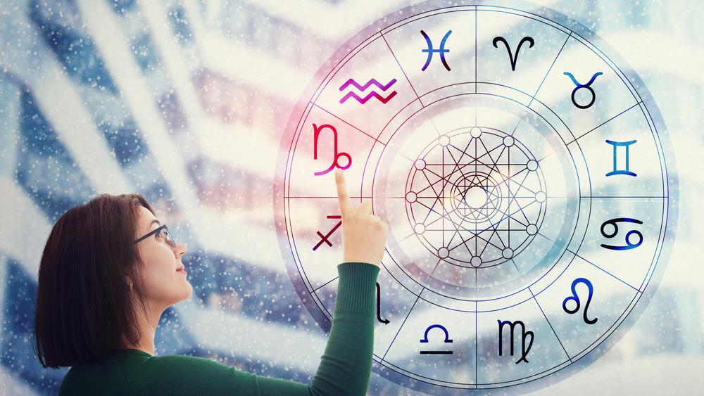 Women points to Capricorn symbol