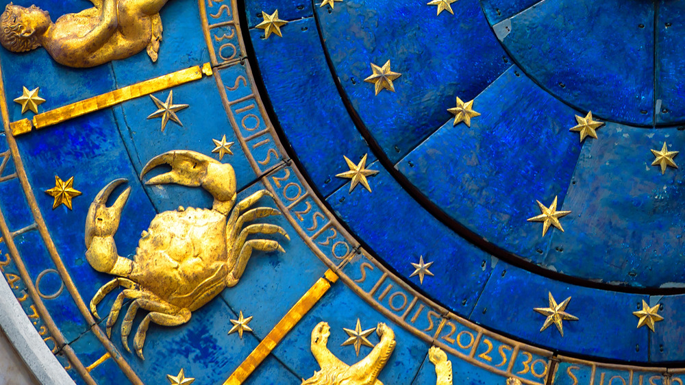 Cancer the crab on zodiac wheel