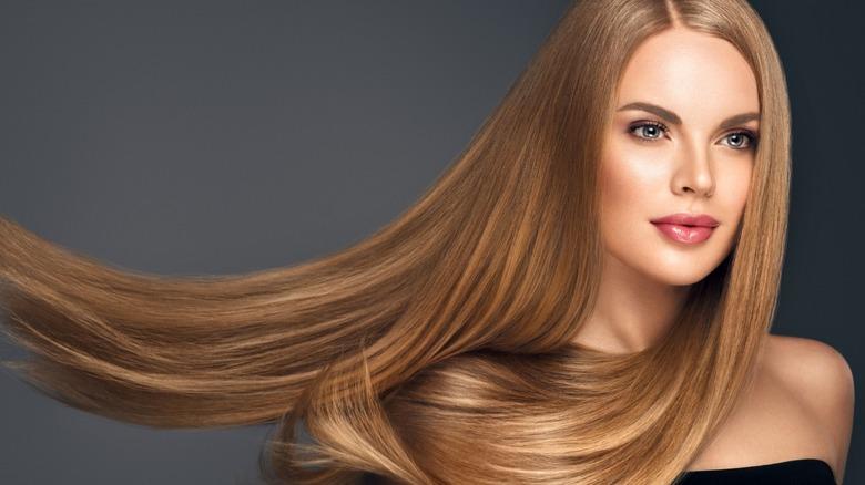 woman long blonde hair