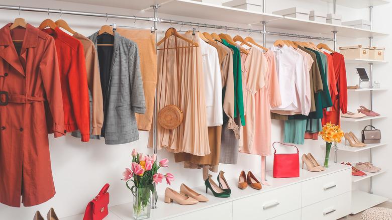 Red, beige, and orange wardrobe