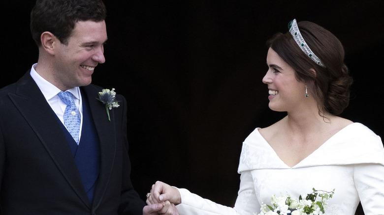 Jack Brooksbank and Princess Eugenie at their wedding