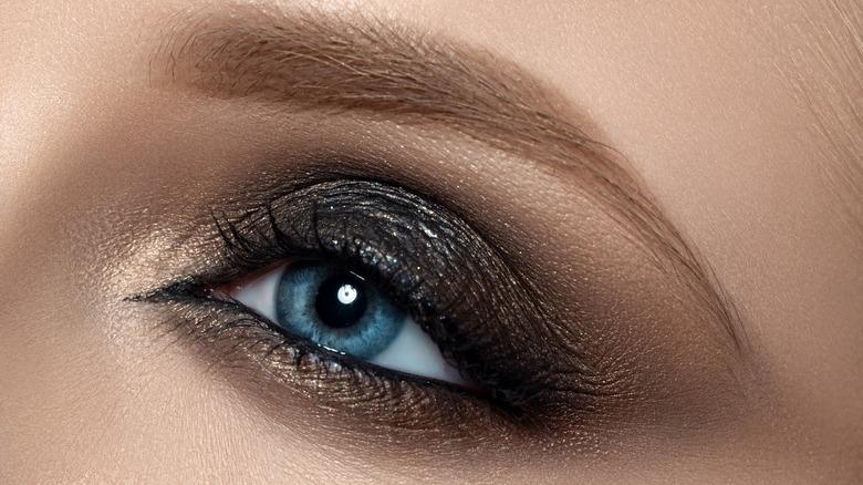 Woman with smokey eye makeup