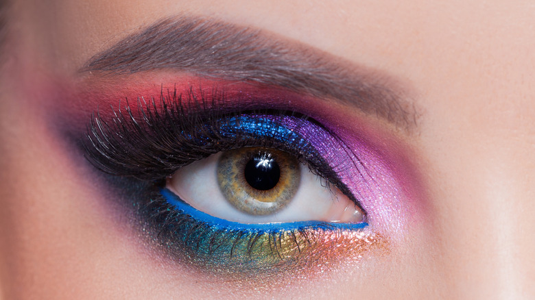 Woman in colorful eyeshadow