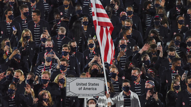 U.S. Olympic athletes walking during opening ceremony