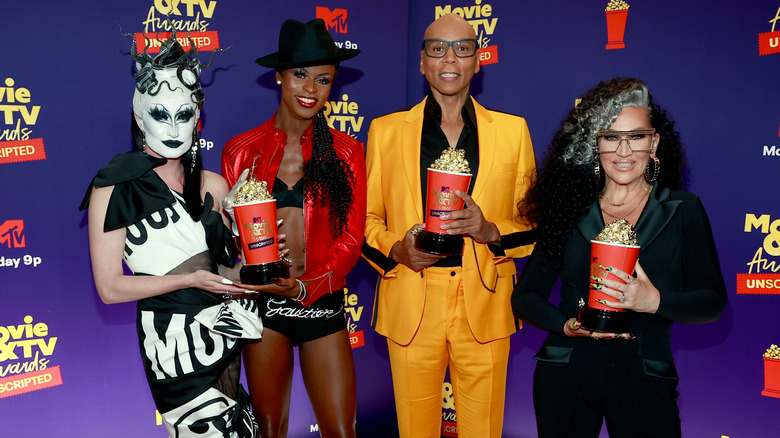 Symone and Gottmik with RuPaul and Michelle Visage