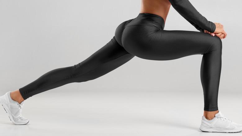 woman leggings stretching