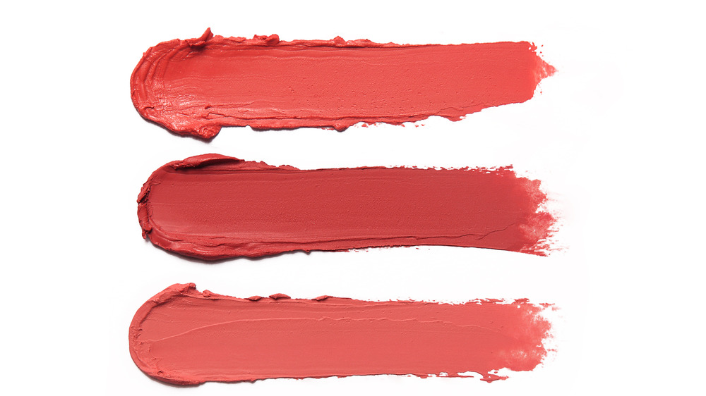 Lipstick colors on white background