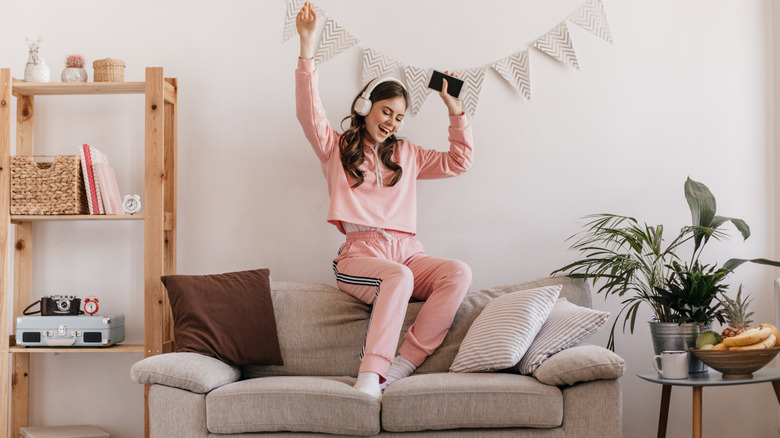 Woman in a pink tracksuit