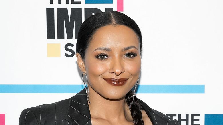 Kat Graham wearing brown lipstick