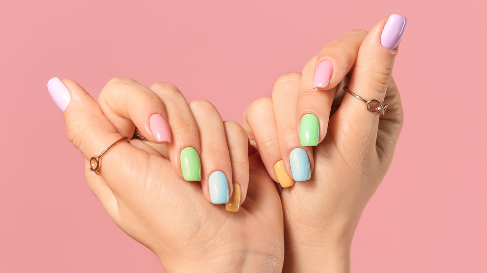 Multi-colored pastel nail polish