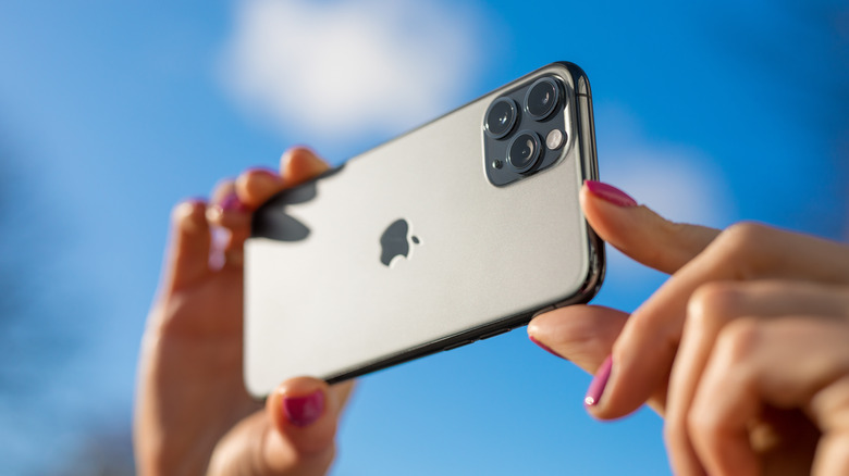 iPhone being used to take photo outside