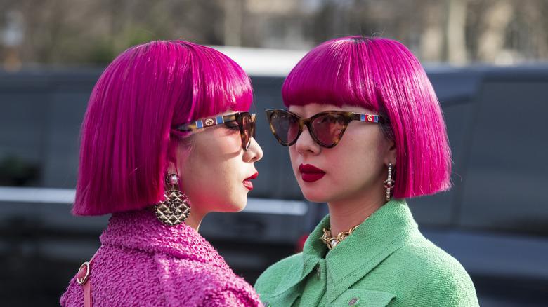 Pink hair matching bobs