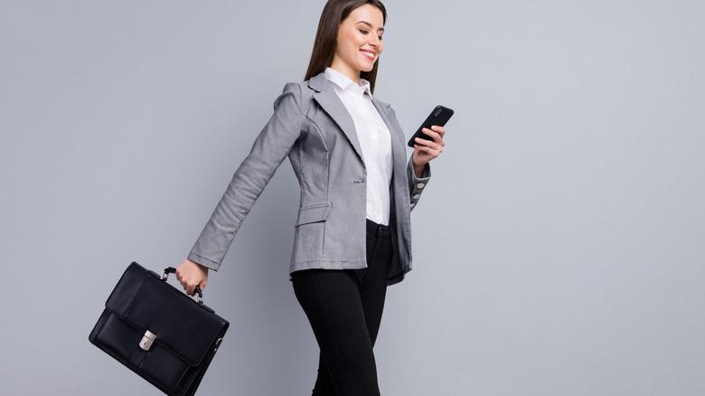 Woman smiling in workwear